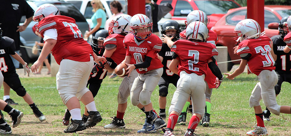 Youth football action photo